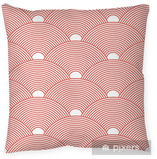 Seamless red dense asian pattern vector Pillow Cover - Graphic Resources