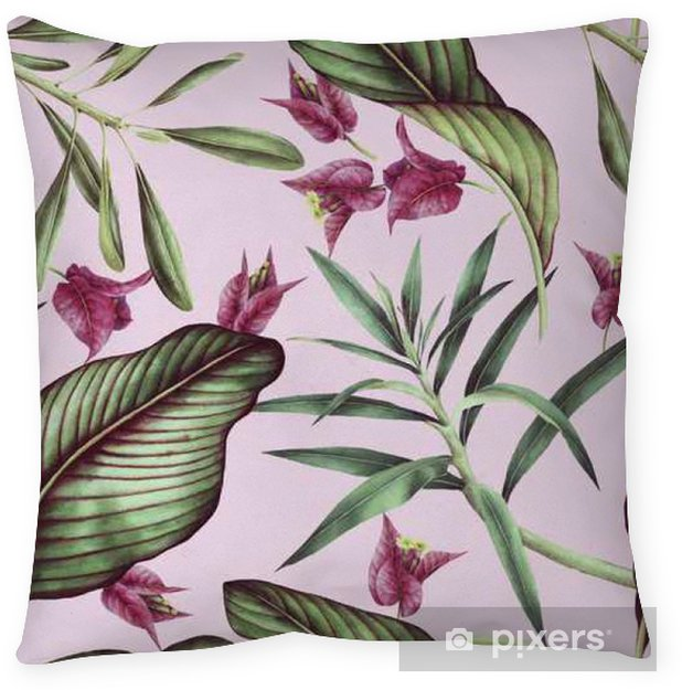 Seamless tropical flower pattern, watercolor. Pillow Cover - Plants and Flowers