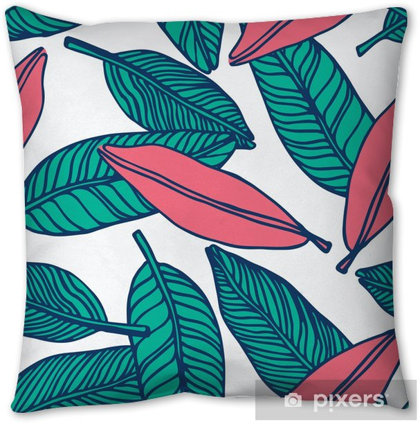 seamless tropical jungle floral pattern background Pillow Cover - Graphic Resources