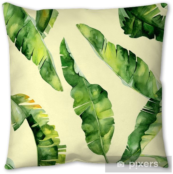 Seamless watercolor illustration of tropical leaves, dense jungle. Pattern with tropic summertime motif may be used as background texture, wrapping paper, textile,wallpaper design. Banana palm leaves Pillow Cover - Plants and Flowers