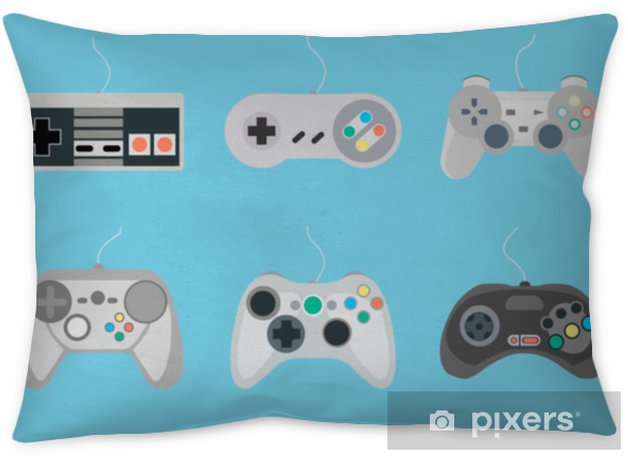 Set of retro gamepads and joysticks icons on blue background  Control  console for video game  Vector illustration Pillow Cover