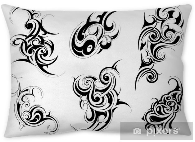 c25878b2ae66a Set of tribal tattoo shapes Pillow Cover • Pixers® • We live to change
