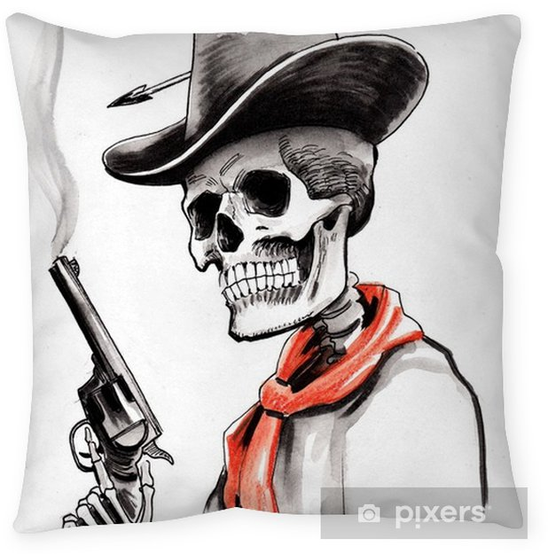 Skeleton with a smoking gun Pillow Cover - People