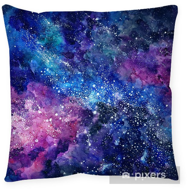 Space hand painted watercolor background. Cosmic texture with stars. Abstract background Pillow Cover - Graphic Resources