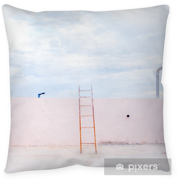 Stair on empty skyscraper roof with sky view in minimalism style. Pillow Cover - Landscapes