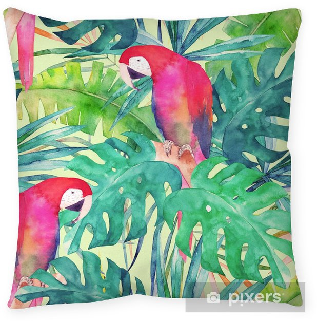 Summer seamless pattern with watercolor parrot, palm leaves. Colorful illustration Pillow Cover - Graphic Resources