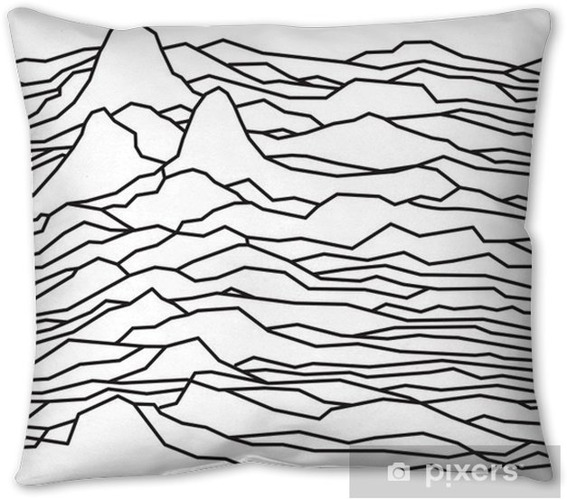 The rhythm of the waves, the pulsar, vector lines design, broken lines, mountains Pillow Cover - Graphic Resources