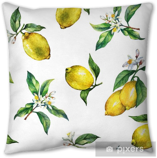 The seamless pattern of the branches of fresh citrus fruit lemons with green leaves and flowers. Hand drawn watercolor painting on white background. Pillow Cover - Graphic Resources