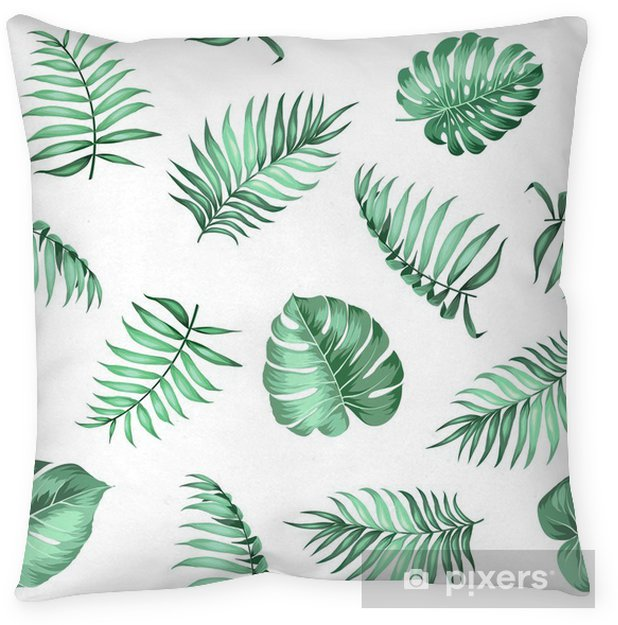 Fabric For Pillow Covers.Topical Palm Leaves On Seamless Pattern For Fabric Texture Vector Illustration Pillow Cover