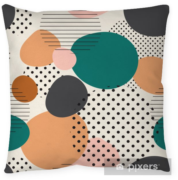 trendy seamless pattern of geometric shapes and doodles. Colorful pattern memphis style Pillow Cover - Graphic Resources