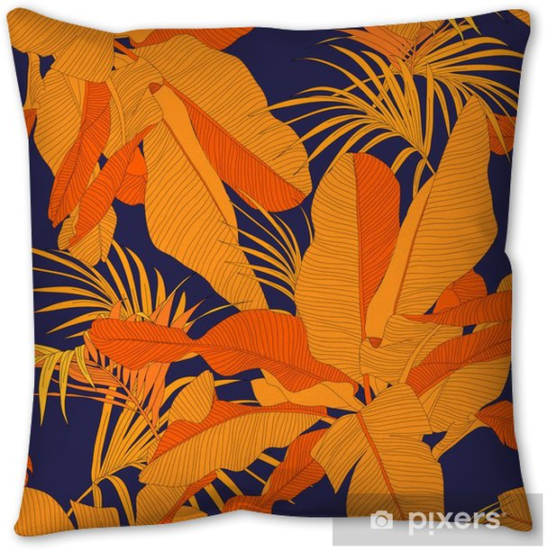 trendy tropical fabric seamless pattern, red palm leaves on dark navy background, vector illustration Pillow Cover - Graphic Resources