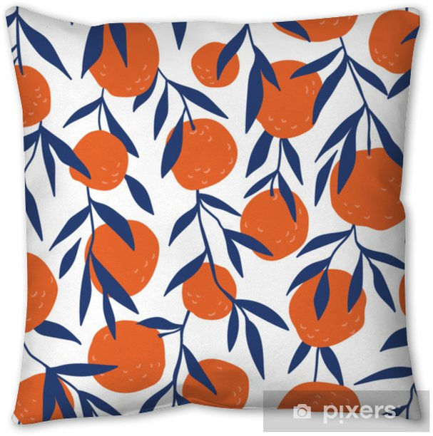Tropical seamless pattern with red oranges. Fruit repeated background. Vector bright print for fabric or wallpaper. Pillow Cover - Graphic Resources