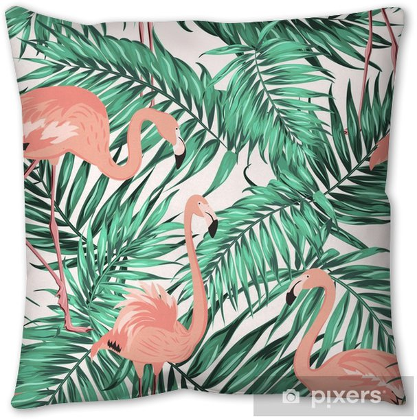 Turquoise green tropical jungle palm tree leaves. Pink exotic flamingo wading birds. Seamless pattern texture on white background. Pillow Cover - Animals