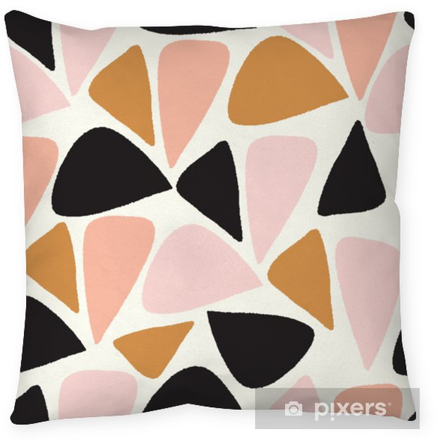 vector abstract geometric seamless repeat pattern in pink, gold, black and white Pillow Cover - Graphic Resources