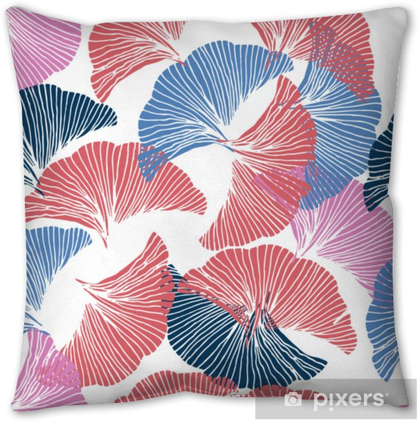 Vector colorful seamless pattern. Hand drawn leaf of Ginkgo Biloba. Pillow Cover - Graphic Resources