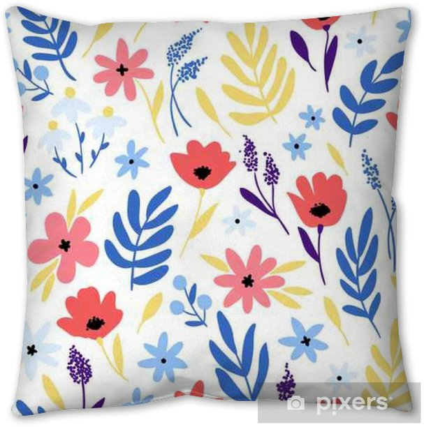 Vector floral pattern with flowers and leaves. Pillow Cover - Plants and Flowers