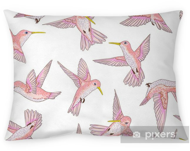vector seamless flying little birds of paradise conversational pattern, spring summer time, gentle romantic humming-bird, colibri background allover print design Pillow Cover - Animals