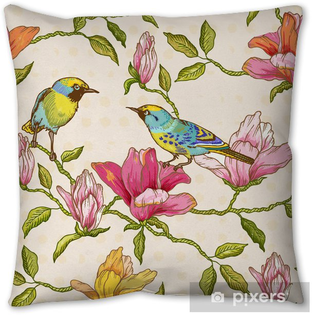 Vintage Seamless Background - Flowers and Birds Pillow Cover - Seasons