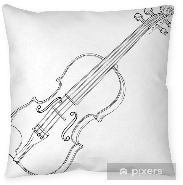 Violin Drawing Pillow Cover