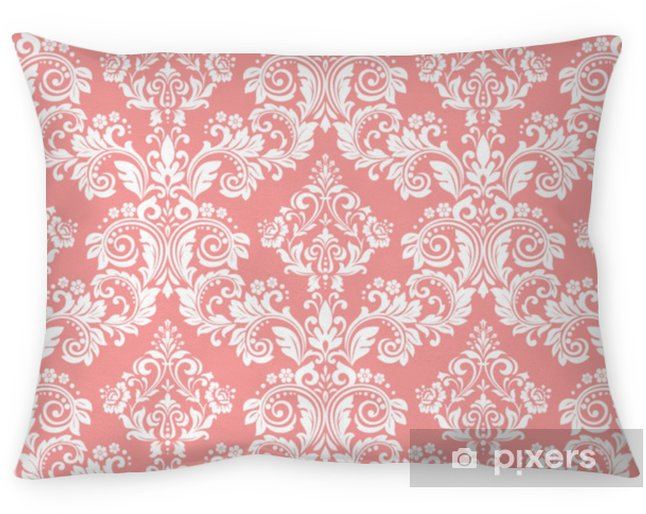 Wallpaper in the style of Baroque. A seamless vector background. White and pink floral ornament. Graphic pattern for fabric, wallpaper, packaging. Ornate Damask flower ornament Pillow Cover - Graphic Resources