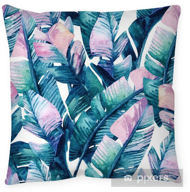 Watercolor banana leaf seamless pattern. Pillow Cover - Plants and Flowers