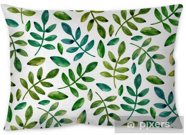 Watercolor green leaves pattern. Seamless eco ornament Pillow Cover - Graphic Resources