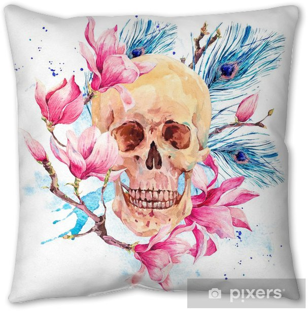 Watercolor human skull and pink flowers Magnolia Pillow Cover - Hobbies and Leisure