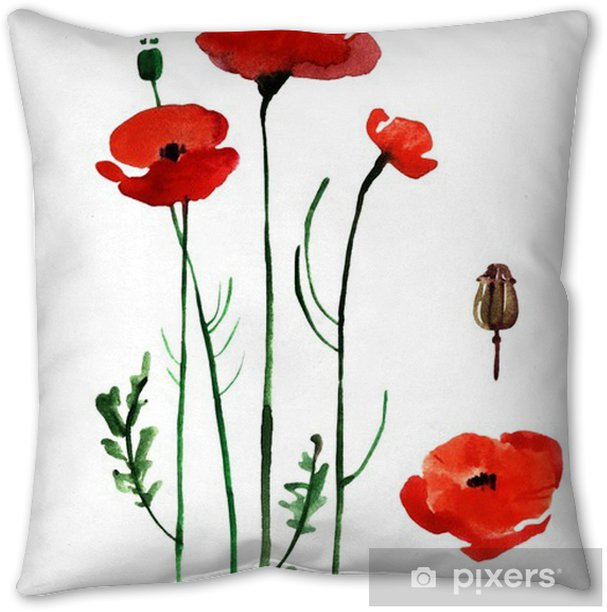 Watercolor Poppy Hand Painted Draw Pillow Cover Pixers We Live To Change