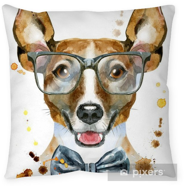 Watercolor portrait of jack russell terrier with bow-tie and glasses Pillow Cover - Animals