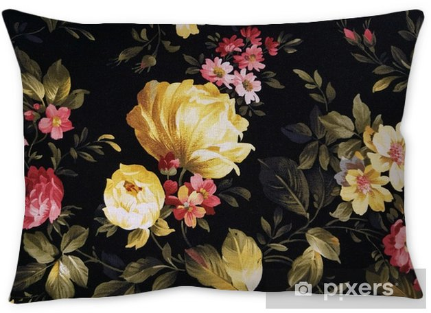 yellow peony and pink daisy design on black fabric Pillow Cover - Graphic Resources