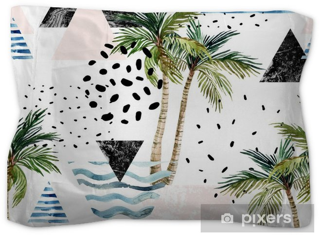 Art Ilration With Palm Tree Doodle Marble Grunge Textures Geometric Shapes Pillow Sham