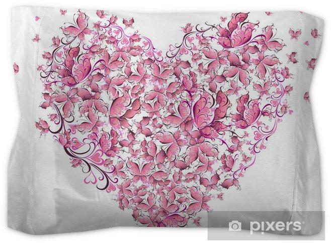 Floral Love Shape Heart Of Butterflies Valentine Day Card Pillow Sham