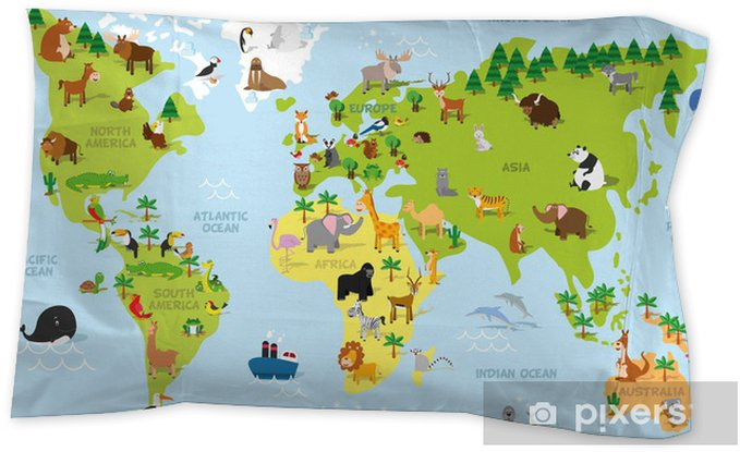 Preschool World Map.Funny Cartoon World Map With Traditional Animals Of All The