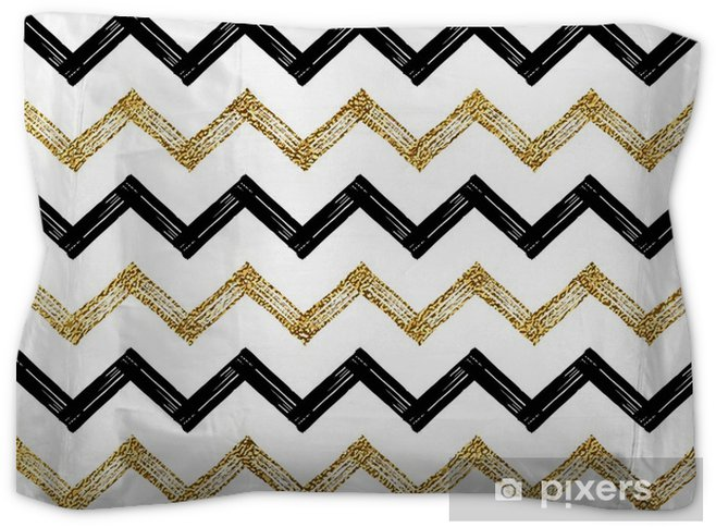 Seamless Pattern Of Black Gold Zigzag Chevron Golden And Zig Zag Striped Background Hand Painted Vector Design For Textile Wallpaper Web