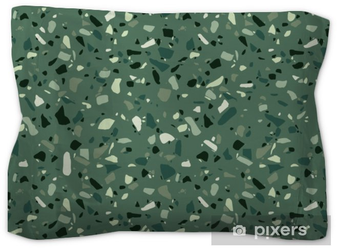 Terrazzo Seamless Pattern Surface Texture Of Decorative Granite Mosaic Green Marble Tiles Stone Floor Texture Vector Illustration Pillow Sham