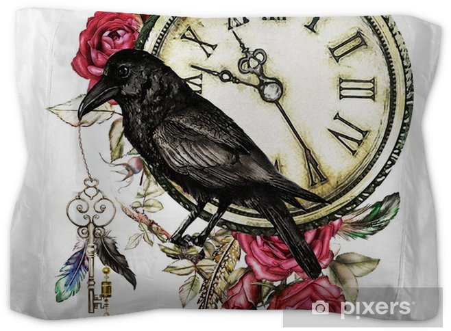 4862b03a529e5 watercolor illustration with crow, red roses, clock, keys and feathers.  Gothic background with flowers. Cool print on T-shirt, Tattoo. Vintage  Pillow Sham