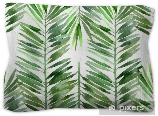 Watercolor Palm Tree Leaf Seamless Pillow Sham Plants And Flowers