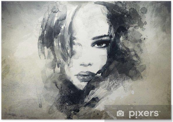 Abstrakt kvinde portræt Plakat -