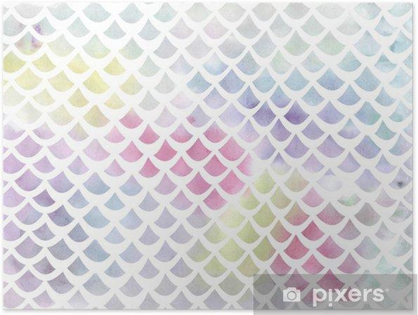 7c9a0d1d Plakat Akvarell fisk skala mønster i blått og rosa - Grafiske Ressurser