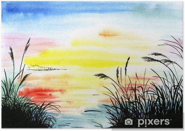 2034176b Plakat Akvarell tegning landskap • Pixers® - Vi lever for forandring