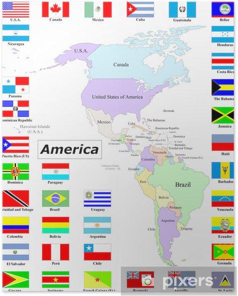 Amerika Mappe E Bandiere Plakat Pixers Vi Lever For