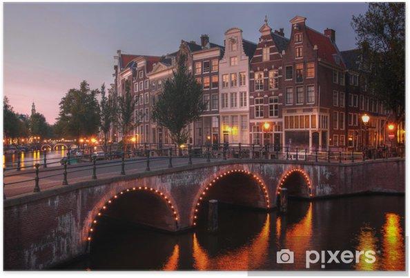 Amsterdamskanalen ved twilight, Holland Plakat -