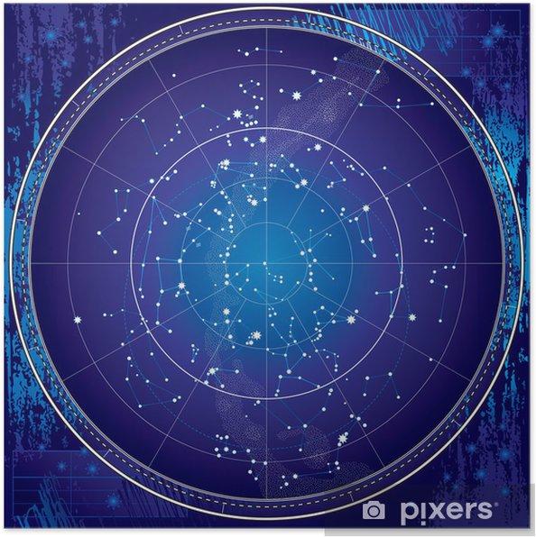 Astronomisk diagram på den nordlige halvkugle (mørk tegning) Plakat -
