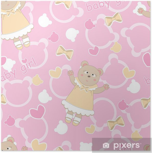 456654c0 Plakat Baby dusj sømløs mønster med søte bjørner • Pixers® - Vi ...