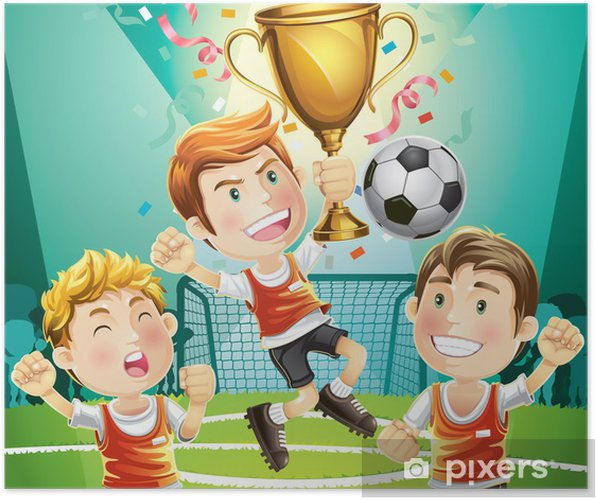 6c4043e6 Plakat Barn Fotballkampjon med vinneren trofé. tegneserie karakter ...