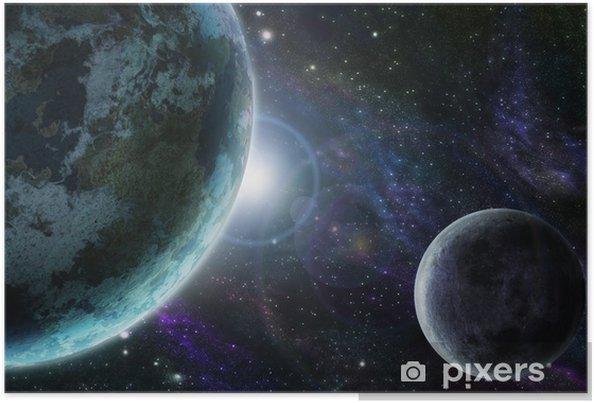Blå planet jord i det ydre rum Plakat -