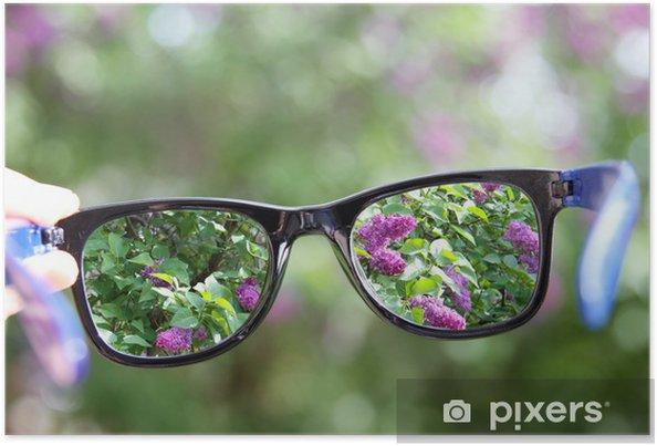 aaa401c692f6 Plakat Briller i hånden over sløret bakgrunn • Pixers® - Vi lever ...