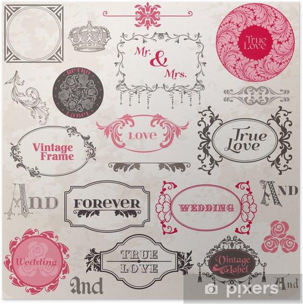e7227899 Plakat Bryllup Vintagerammer og designelementer - i vektor • Pixers ...