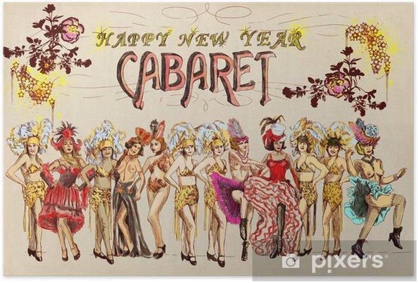 5a7c10f6 Plakat Cabaret Gratulerer nytt år! Retro bilde med cancan dansere ...