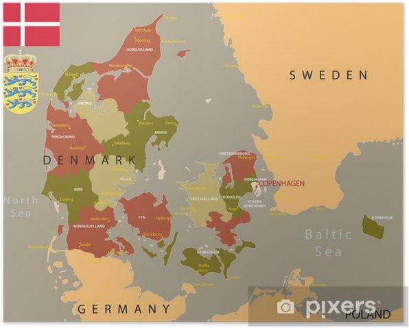 Danmark Kort Plakat Pixers Vi Lever For Forandringer